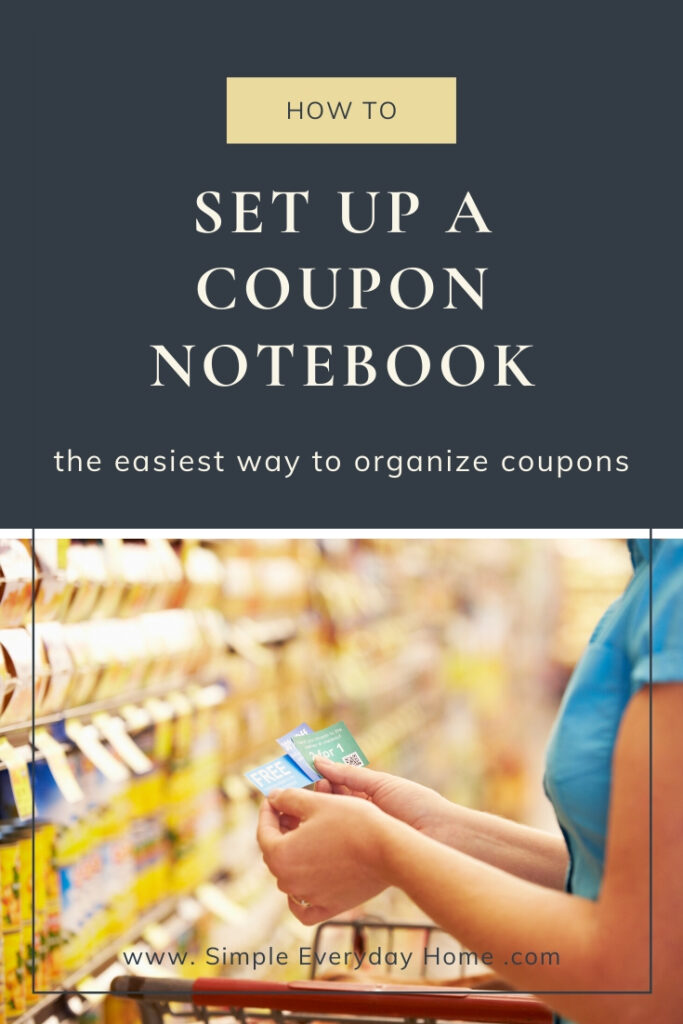 """Woman at grocery store looking at coupons with the words """"How to Set Up a Coupon Notebook"""""""