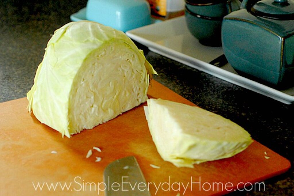 Head of cabbage on a cutting board