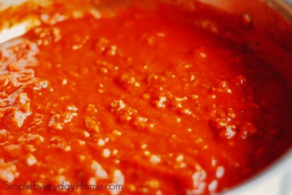 Sauce cooking in pan