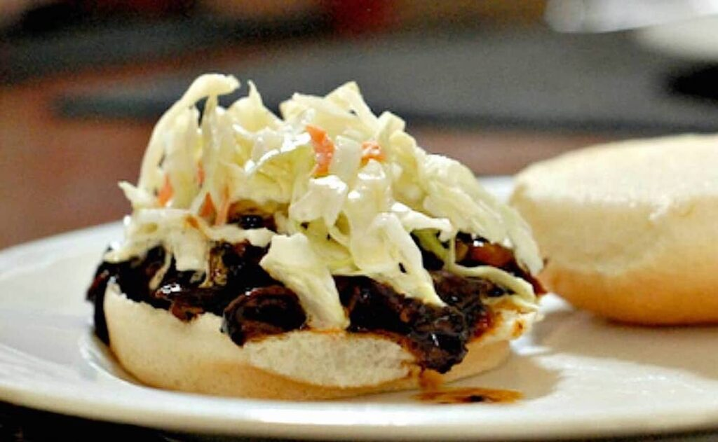 Barbecue beef sandwich with cole slaw on top