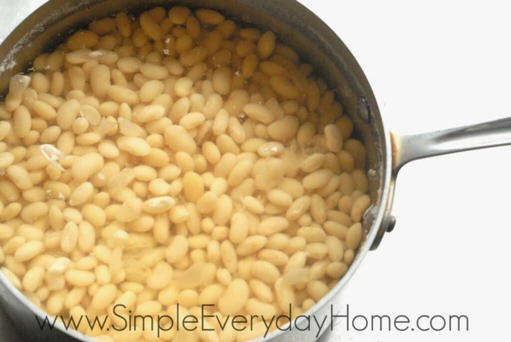 Beans covered with water in pan